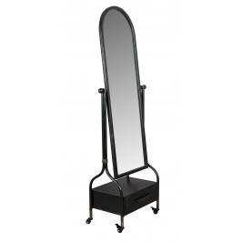 Černé sklopné zrcadlo se šuplíkem DUTCHBONE Gubo