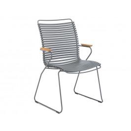 Šedá plastová zahradní židle HOUE Click II. s područkami