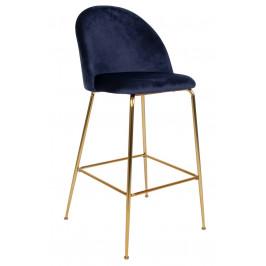 Modrá sametová barová židle Nordic Living Anneke se zlatou podnoží