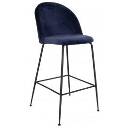 Modrá sametová barová židle Nordic Living Anneke s černou podnoží