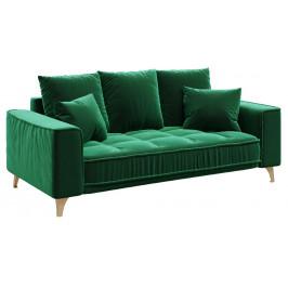 Tmavě zelená sametová dvoumístná pohovka DEVICHY Chloe 204 cm