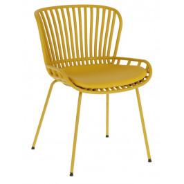 Hořčicově žlutá čalouněná plastová zahradní židle LaForma Surpik