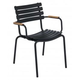 Černá plastová zahradní židle HOUE Clips s područkami