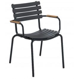 Šedá plastová zahradní židle HOUE Clips s područkami