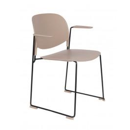 White Label Living Béžová plastová židle WLL Stacks s područkami