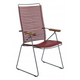 Červená plastová polohovací zahradní židle HOUE Click