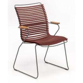 Červená plastová zahradní židle HOUE Click II. s područkami