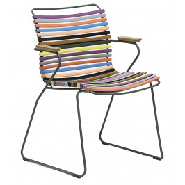 Pestrobarevná plastová zahradní židle HOUE Click s područkami