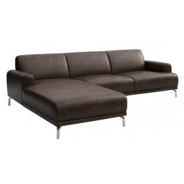 Vintage tmavě hnědá rohová čalouněná pohovka MESONICA Puzo, levá, 240 cm
