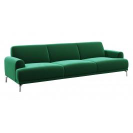 Tmavě zelená třímístná sametová pohovka MESONICA Puzo 240 cm