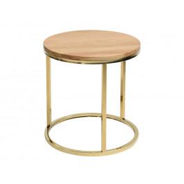 Dubový odkládací stolek FormWood Villa 50 cm s lesklou zlatou podnoží