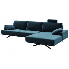 Tmavě modrá rohová sametová pohovka MESONICA Prado, pravá, 315 cm