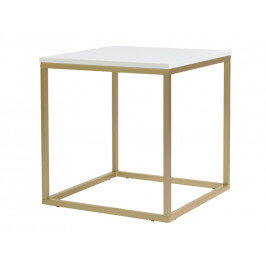 Bílý konferenční stolek FormWood Villa 50 x 50 cm s matnou zlatou podnoží