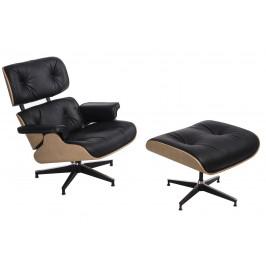 Culty Kožené křeslo v dubovém provedení Lounge chair s podnožkou