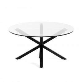 Skleněný kulatý konferenční stolek LaForma Arya O 82 cm s černou podnoží