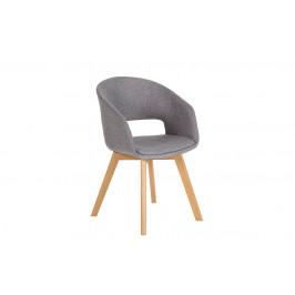 Moebel Living Šedá čalouněná jídelní židle Etole s dřevěnou podnoží
