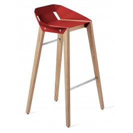Červená hliníková barová židle Tabanda DIAGO 75 cm s dubovou podnoží