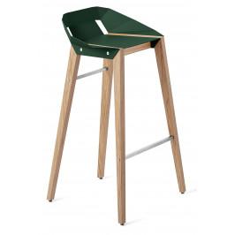 Lahvově zelená hliníková barová židle Tabanda DIAGO 75 cm s dubovou podnoží
