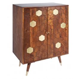 Moebel Living Masivní dřevěná vinotéka Celio