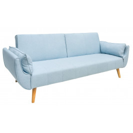 Moebel Living Světle modrá látková rozkládací pohovka Diva 215 cm