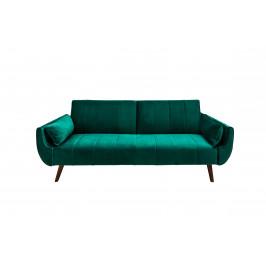 Moebel Living Zelená sametová rozkládací pohovka Diva 215 cm
