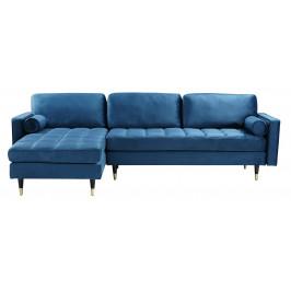 Moebel Living Tmavě modrá sametová rohová pohovka Scantini 260 cm, levá/pravá