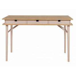 Hnědo růžový březový pracovní stůl Woodman Solo 115x50 cm