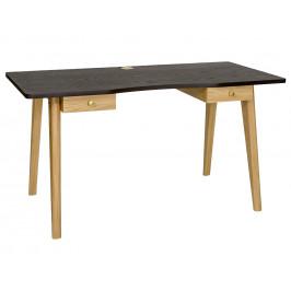 Černý dubový pracovní stůl Woodman Oak 140x70 cm