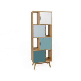 Modrá dubová knihovna Woodman Avon 191 cm