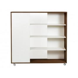 Bílá dřevěná knihovna Woodman Adala II. 148 cm