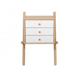 Bílý dubový noční stolek Woodman Wiru I