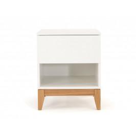 Bílý dubový noční stolek Woodman Blanco