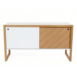 Bílá dubová komoda Woodman Cubis 130x45 cm