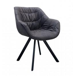 Moebel Living Tmavě šedá čalouněná jídelní židle Grec