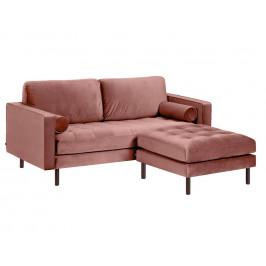 Růžová sametová rohová pohovka LaForma Bogart 222 cm, levá/pravá