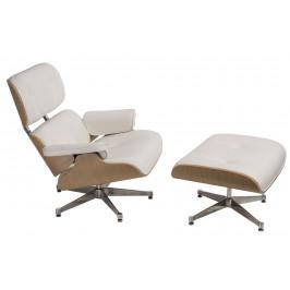 Culty Bílé kožené křeslo v dubovém provedení Lounge chair s podnožkou