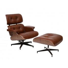 Culty Hnědé kožené křeslo v dubovém provedení Lounge chair s podnožkou