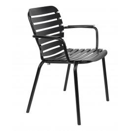 Černá kovová zahradní židle ZUIVER VONDEL s područkami