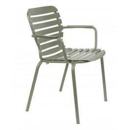 Zelená kovová zahradní židle ZUIVER VONDEL s područkami