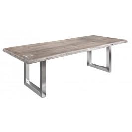 Moebel Living Šedý masivní jídelní stůl Holz III 240x100 cm