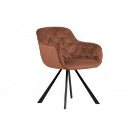 Hoorns Malinově červená sametová jídelní židle Herian