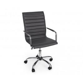 Tmavě šedá kožená kancelářská židle Bizzotto Perth