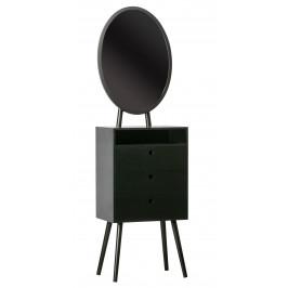 Hoorns Černá borovicová skříňka se zrcadlem Vanessa