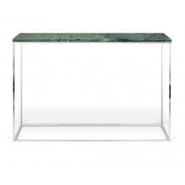 Porto Deco Zelený mramorový toaletní stolek Baronet 120x40 cm se stříbrnou podnoží