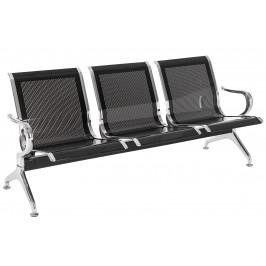 DMQ Černá kovová trojmístná čekárenská lavice Airflow 182 cm