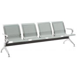 DMQ Stříbrná kovová čtyřmístná čekárenská lavice Airflow 240 cm