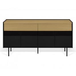 Porto Deco Černá dubová komoda Leiner 160x43 cm