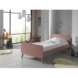 Růžová dřevěná postel Vipack Billy 90x200 cm