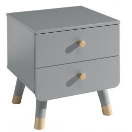 Šedý dřevěný noční stolek Vipack Billy 40 x 43 cm