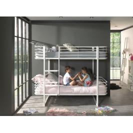 Bílá kovová dětská patrová postel Vipack Oscar 90x200 cm